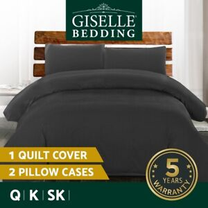 Giselle Bedding Luxury Classic Bed Duvet Doona Quilt Cover Set Hotel Q K SKBlack