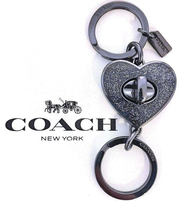 COACH Heart Valet Turnlock Keychain Black Sparkle Purse FOB Bag Charm NWT 58512
