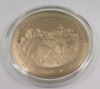 1882 American Buffalo Nears Extinction FRANKLIN Solid BRONZE Medal Uncirculated
