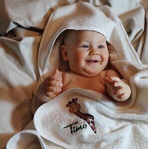 Kapuzen & Badetücher Baby Kapuzenhandtuch Mit Namen Bestickt Kapuzentuch Badetuch Taufe Geburt