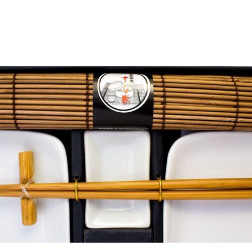 Weißes Sushi Set Geschirr Service Teller  braun 10 teilig 2 Personen Sparen