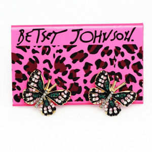 Betsey-Johnson-Enamel-Crystal-Cute-Butterfly-Charm-Ear-Stud-Women-039-s-Earrings