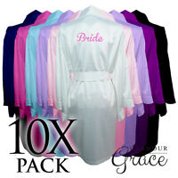 10 Pack Bridal Wedding Bride Bridesmaid Dressing Gowns Satin Robes Personalised