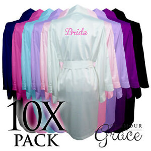 10-PACK-Bridal-Wedding-Bride-Bridesmaid-Dressing-Gowns-Satin-Robes-Personalised