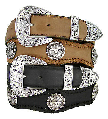 Western Belt Berry Concho Scalloped Leather Belt 1 1//2 wide