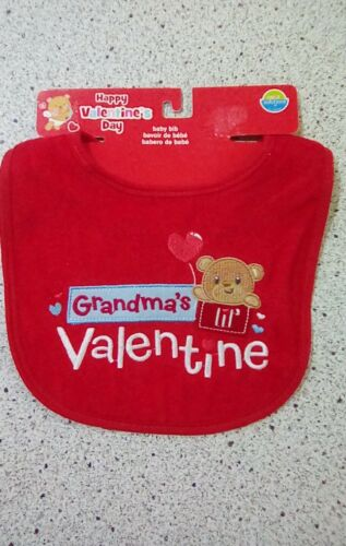 #1925 GRANDMAS LIL VALENTINE BOYS RED BABY BIB BROWN BEAR RED BALLOON NEW W//TAG
