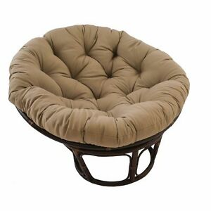 Details about Rattan Papasan Chair with Toffee Cushion