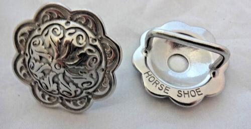 "Pair Jeremiah Watt Bridle Loop Back Concho 1 1//2/"" Horse Tack Stainless Steel New"