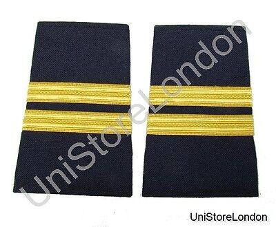 Epaulet Pilot Epaulette Sliders 2 Gold Bar Flight Engineer Black Cloth R1325