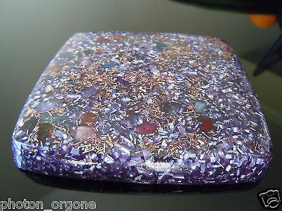 4 x Orgone Purple Tesla Plate Coaster Moldavite Malachite Rhodochrosite Amethyst