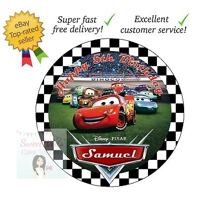 """DISNEY CARS PARTY 7.5/"""" PERSONALISED ROUND EDIBLE ICING CAKE TOPPER"""