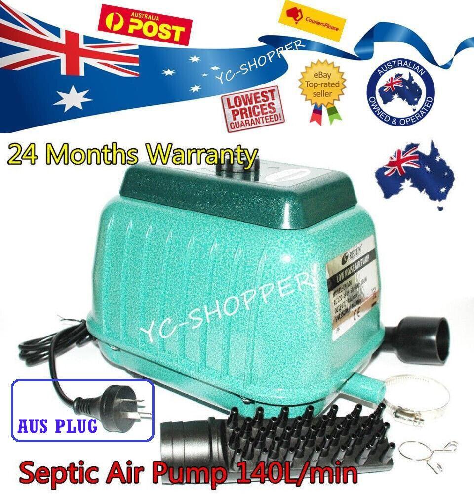 Resun LP100 Septic Tank Air Pump 140Lmin Pond Aquarium 8400lHr 2Yr Elect Wty