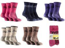 3 pairs  Ladies Jeep Terrain Cushion sole Cotton Hiking Socks 4-7 uk Stone