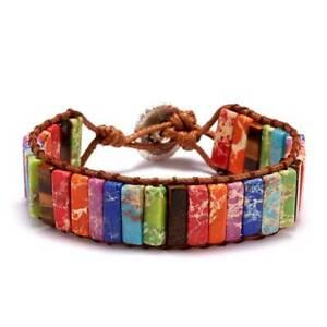 7-Chakra-Naturstein-Perlen-Armband-Armreif-Knoten-Damen-Schmuck-Nett-flYfE