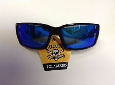 New Authentic Calcutta Hook Sunglasses - Shiny Black Frame/Blue Mirror Lens