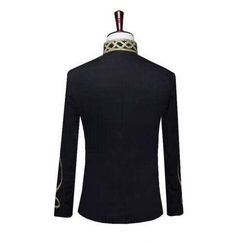 Homme Coupe Slim Militaire Hussard Costume Veste Fermeture Éclair Tunique Blazer