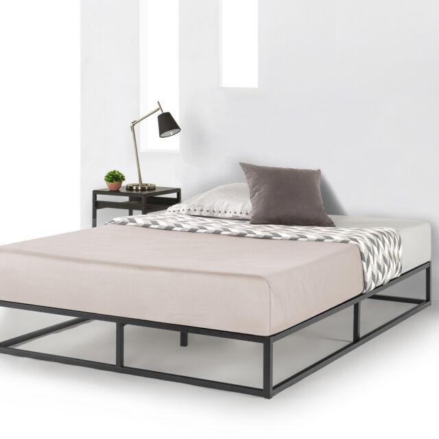 online store 4470a 57c10 Metal Platform Bed Frame Wooden Slat Support Mattress Foundation Queen Dorm  Twin