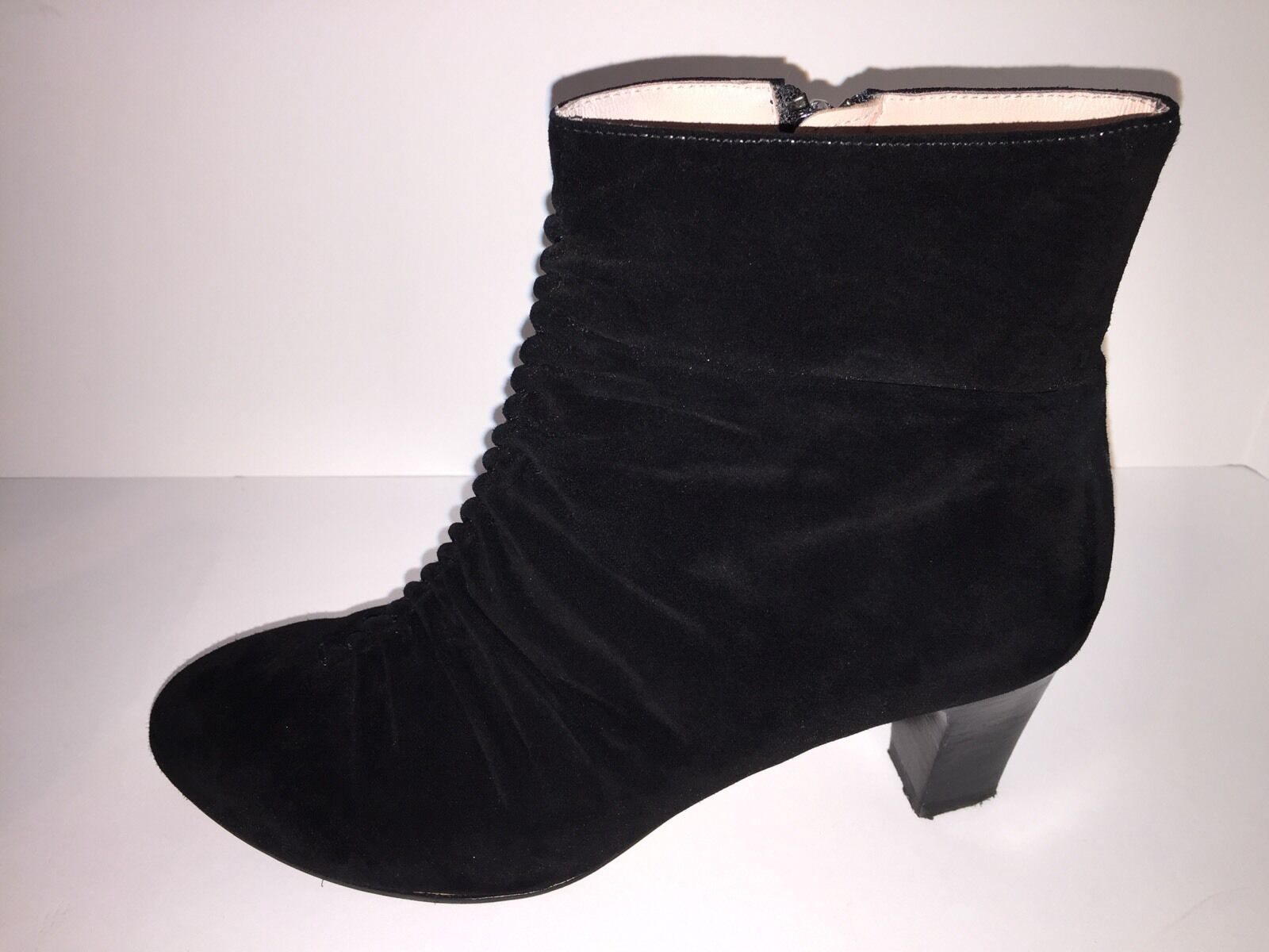 Taryn Rose $495 Black Suede Ankle Boots Ruching Leather Lined SZ 7 M