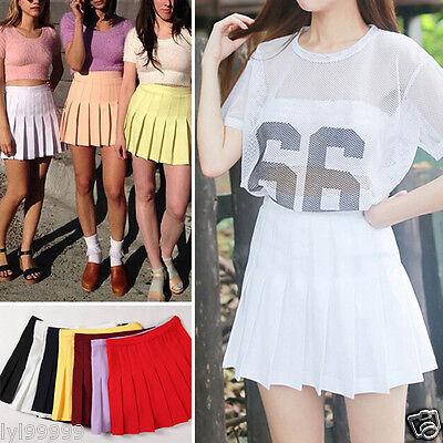 Women Tennis High Waist Plain Skater Flared Pleated Short Mini Skirt Dress