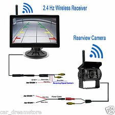"""Wireless IR Night Vision RearView Backup Camera + 5"""" Monitor for Truck/Trailer"""
