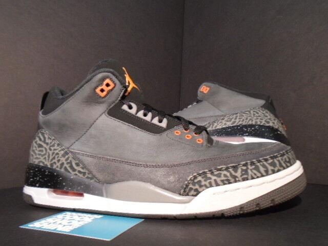 Nike Air Jordan III 3 Retro FEAR PACK CEMENT GREY BLACK orange 626967-040 11.5