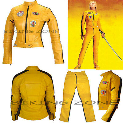 WOMENS KILL BILL SLIM FIT CE ARMOUR MOTORBIKE / MOTORCYCLE LEATHER JACKET / SUIT