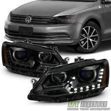 Black Smoke 2011-2017 VW Jetta Sedan Halogen Model LED DRL Projector Headlights