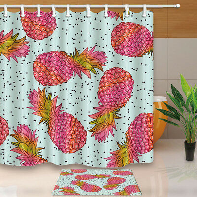 Watercolor Pineapple Hand Draw Bathroom Decor Fabric Shower Curtain Set 71Inch