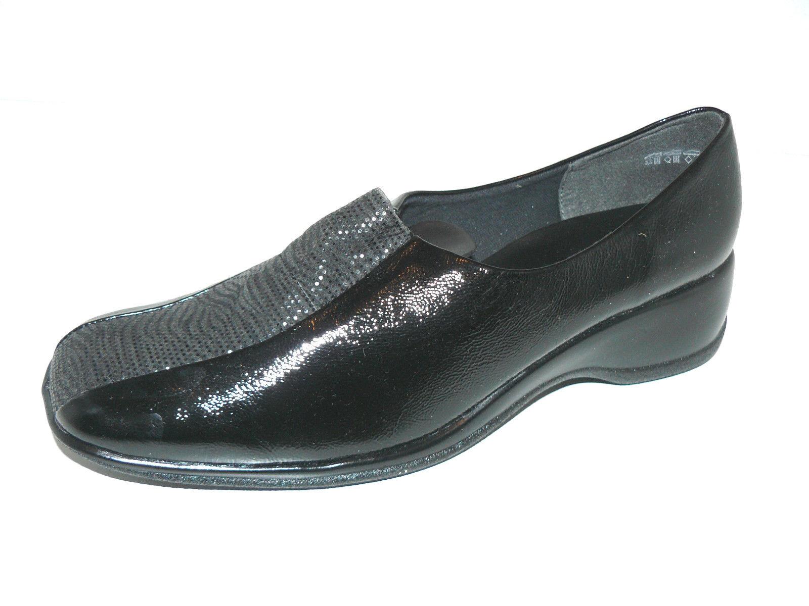 BLEIL schwarze Lack Slipper Halb Schuhe 44 UK 9,5 Leder elegant Pumps weich NEU