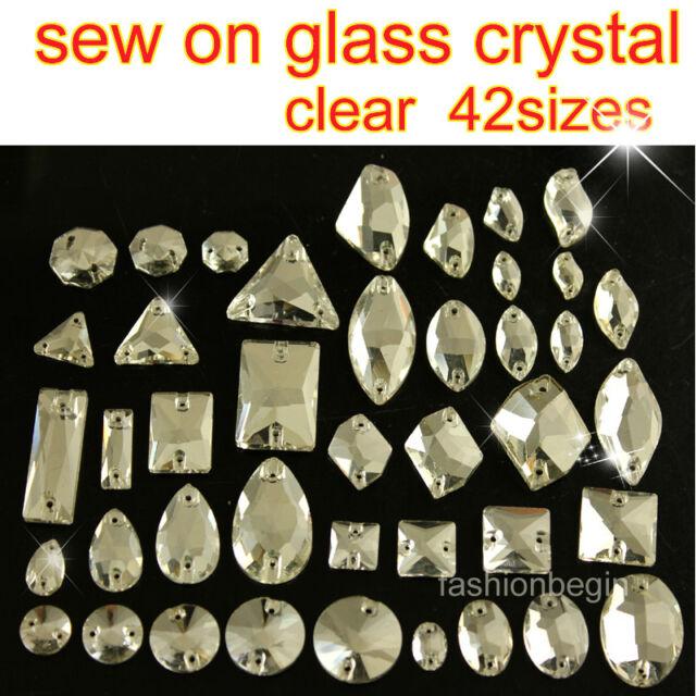 Clear Glass Rhinestone Crystal Sew On Flatback beads oval/teardrop/rectangle pk