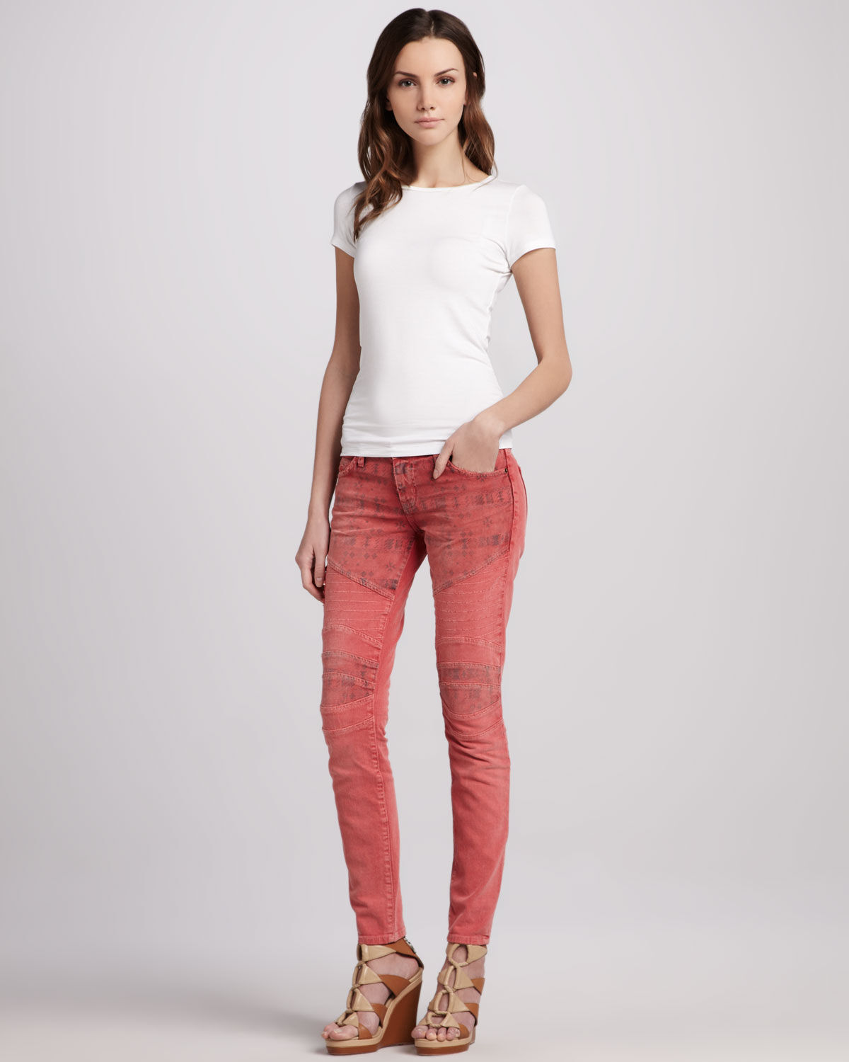 225 Current Elliott Skinny Moto Coral Red Jeans 25