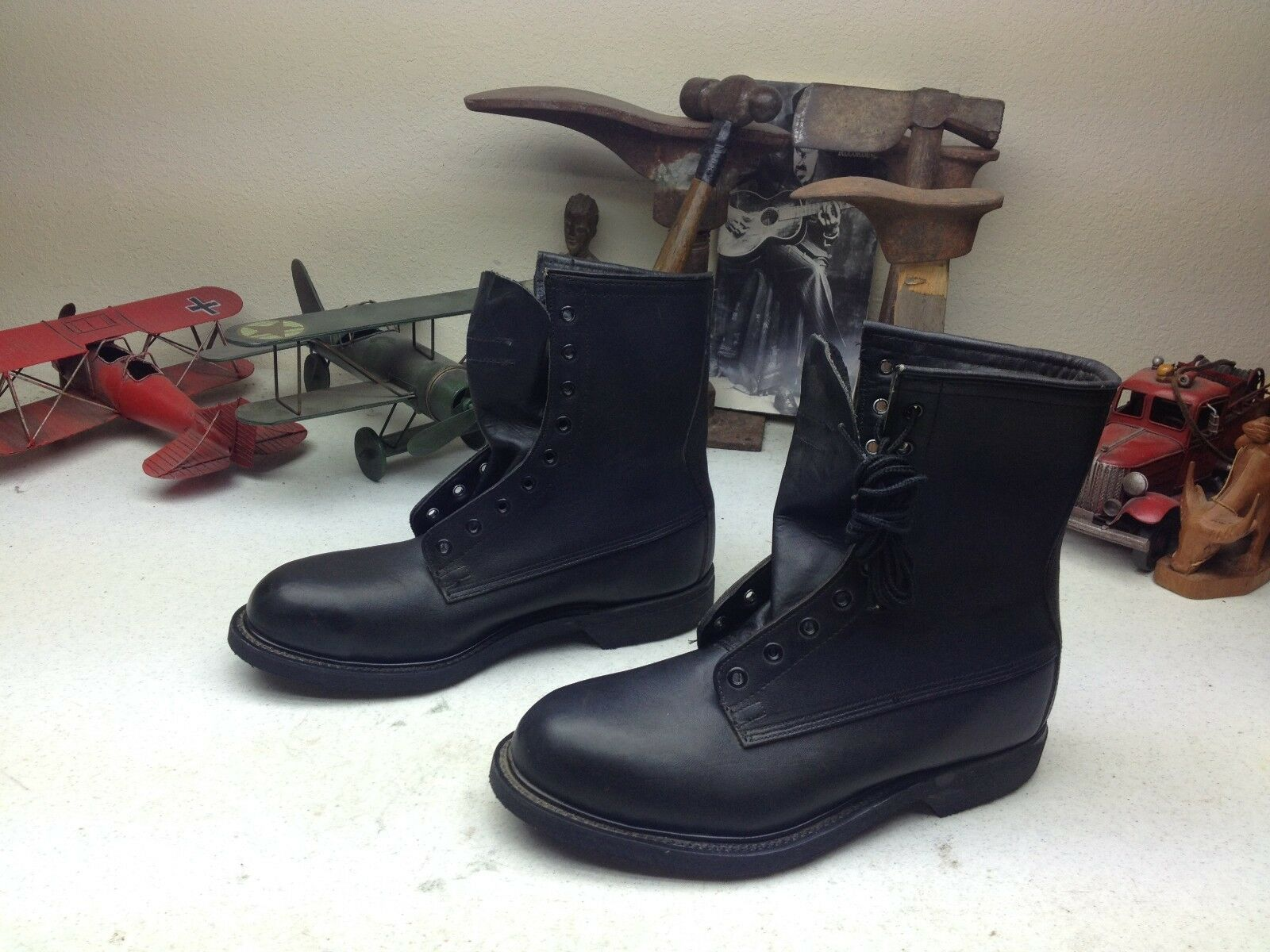 1994 STEEL LEATHER TOE WOLVERINE MILITARY BLACK LEATHER STEEL LACE UP ENGINEER BOSS Stiefel 7.5W 3eb305