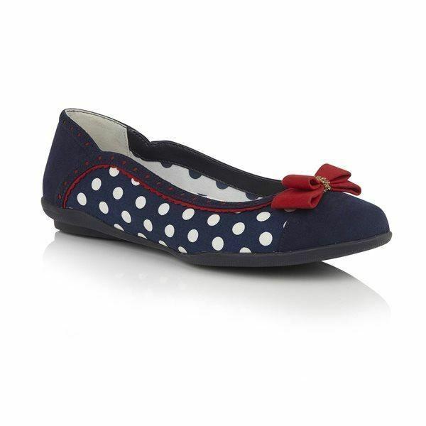 Ruby Shoo Lizzie NAVY SPOTS ballerina shoe