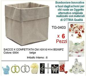 SET-N-6-SACCHETTO-Cm-10x10x14H-BOMBONIERA-CONFETTI-e-CONFETTATA-in-YUTA-AVORIO