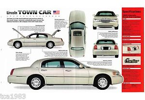 1998 1999 Lincoln Town Car Spec Sheet Brochure Cartier Edition Ebay