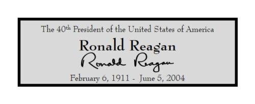 President Ronald Reagan Custom Laser Engraved 2x6 inch Plaque FREE SHIP