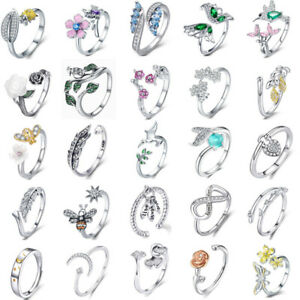 Authentic-925-Sterling-Silver-Open-Rings-Fashion-Women-Girls-Jewelry-Free-Size