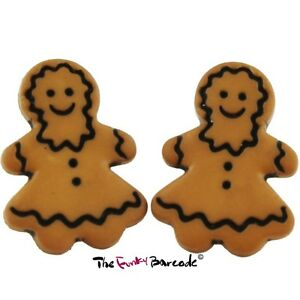 Details About Tfb Gingerbread Stud Earrings Cute Biscuit Food Retro Cool Christmas Cookie