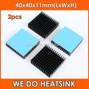 2pcs-40x40x11mm-Black-Anodized-Aluminium-Heatsink-With-Thermal-Adhesive-Pads