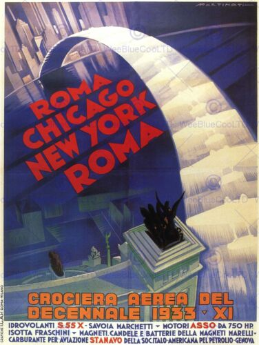 EXHIBITION AIRSHOW DECENNIAL ROME NEW YORK CHICAGO ITALY ADVERT POSTER 1662PY