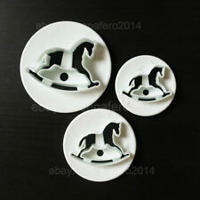 Rocking horse cutters 3 pcs. set  for fondant. Cortadores de caballo balancin.