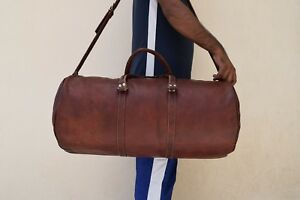 Mens-Real-Leather-Duffle-Bag-Sports-Gym-Yoga-Barrel-Bag-Overnight-Travel-Luggage