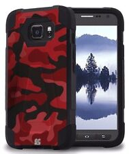 Beyond Cell Shell Case Hyber 2 For Samsung Galaxy S7 Active Red Camouflage