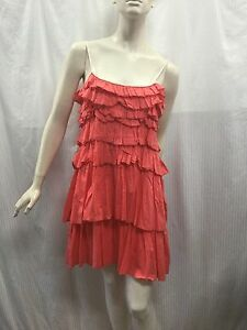 Country-Road-Size-M-Fits-Size-12-Coral-Cotton-Ruffled-Tiered-Plaided-Strap-Dress