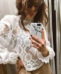 Zara-Blogger-Off-White-Combined-Lace-Top-High-Neck-Cotton-Blend-Victorian-Blouse