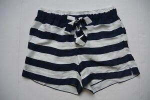 Ann Taylor Loft Shorts S Striped Blue White Tie Waist NWT