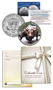 WALL-STREET-BULL-Collectible-JFK-Half-Dollar-US-Colorized-Coin-GIFT-CHARGING