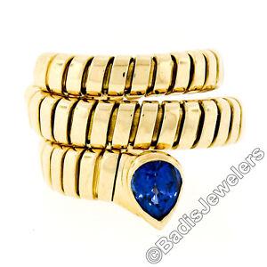 Bvlgari-Bulgari-18k-Gold-w-1-11ct-Pear-Sapphire-Serpent-Snake-Wrap-Tubogas-Ring