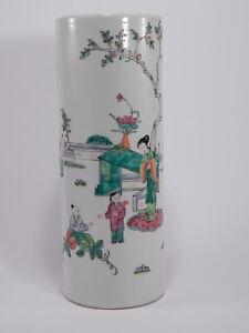 ORIENTAL ART VINTAGE VASO CINESE CILINDRICO HAND MADE CHINESE VASE