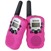 Kids Gift 2x Retevis Rt-388 Pink Walkie Talkie Uhf 0.5w 22ch Flashlight Radio Us